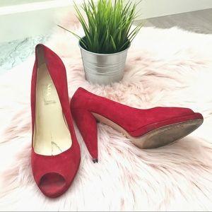AUTH Red Prada Peeptoe Heels Size 39